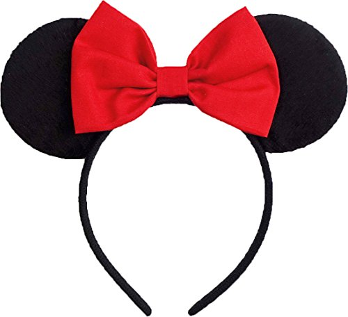 Minnie Mouse Ears Inspired Red Hair Bow Headband Women Mickey Birthday Party Theme Outfit by Sweet in the City -