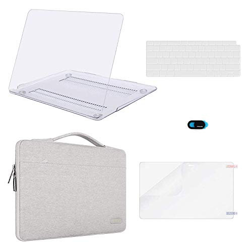 MOSISO MacBook Air 13 Inch Case 2018 Release A1932 with Retina Display, Plastic Hard Shell & Carrying Sleeve Bag & Keyboard Cover & Webcam Cover & Screen Protector Compatible Mac - Case Hard Crystal Sleeve