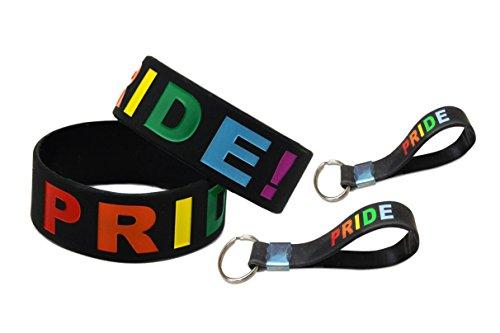 PRIDE Rainbow Silicone Bracelet & Key chain (1 Bracelet 1 Key chain)