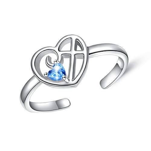 Simple Cross Ring Sterling Silver Adjustable Cross Wrap Open Ring for Women Girls (Style 2)