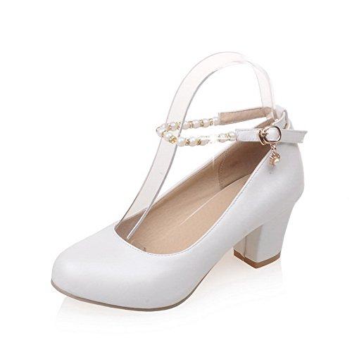 Balamasa Ladies Fibbia Perline Scarpe Tacco Alto In Uretano Scarpe Bianche