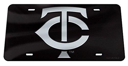 Minnesota Twins Laser - Rico Industries, Inc. Minnesota Twins Black Premium Laser Cut Tag Acrylic Inlaid License Plate Baseball