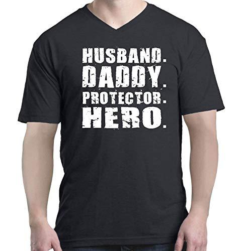 Shop4Ever Husband. Daddy. Protector. Hero. Men's V-Neck