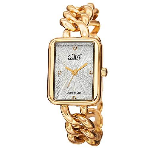 Burgi Women's BUR100YG Gold-Tone Stainless Steel Watch with Link Bracelet