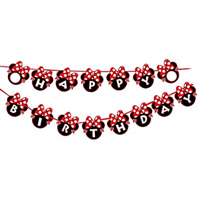 Kempo Red Minnie Happy Birthday Banner Red Bow Polka Dot Mini Mouse for Kids Girls Boys Party Decorations: Toys & Games