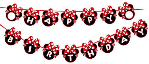 Kempo Red Minnie Happy Birthday Banner Red Bow Polka Dot Mini Mouse for Kids Girls Boys Party Decorations -