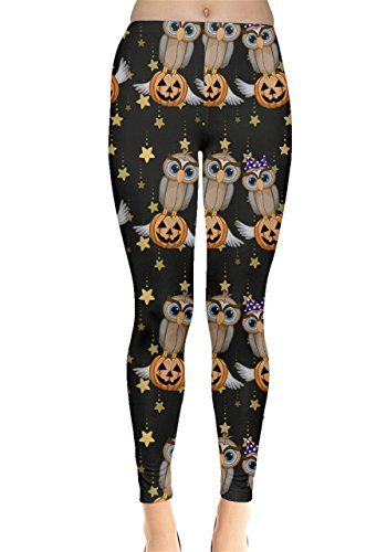 CowCow Womens Black Halloween Cartoon Owls Pumpkins Leggings, Black - XL ()