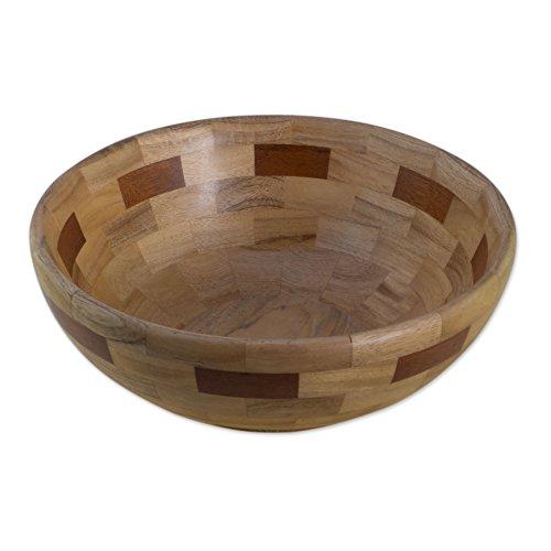 NOVICA TWE0110 Segments' Mahogany Wood Bowl
