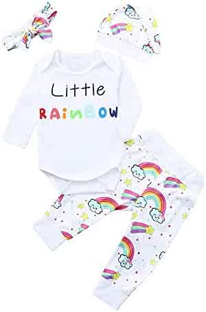 8d171e2e0d50d Fyhuzp Boys Girls Clothes Set, Newborn Baby Girl Boy Letter Bodysuit Tops  Romper Rainbow Pants