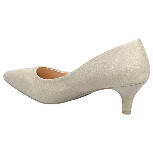 ByPublicDemand Miranda Womens Low Kitten Heel Slip On Pointed Toe Court Shoes Beige Faux Suede 7gzmWe4jaY