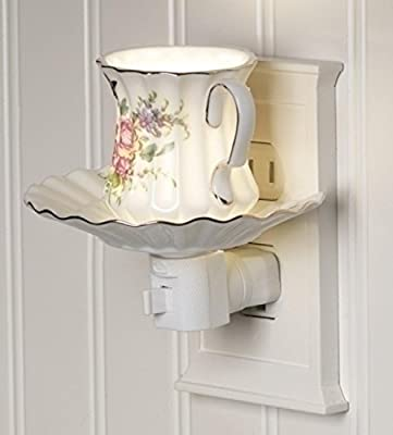 "4.25"" Rose Flower Tea Cup and Saucer Ceramic Night Light"