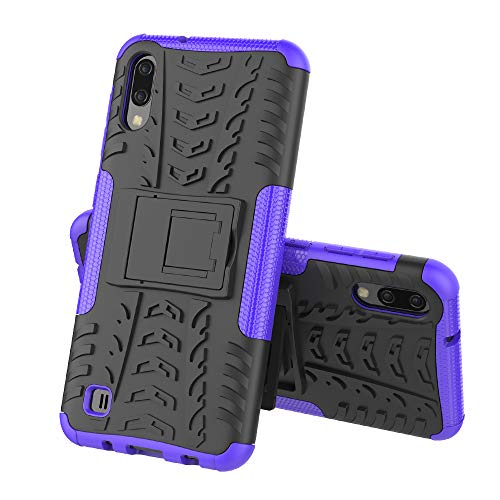 Galaxy M10 Case,Galaxy A10 Case,Slim Case for Galaxy M10,Heavy Duty Rugged Armor Dual Layer Bumper Wallet Protective Phone Case with Kickstand Hard Back Cover for Samsung Galaxy M10 / A10,Purple