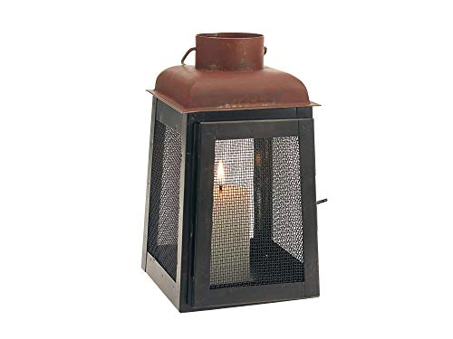 (Stоnеbriаr Home Decor Industrial Black and Rust Metal Lantern Candle Holder with Mesh Sides, Rustic Decorations for Weddings, Birthdays, Events, and Holiday Parties)