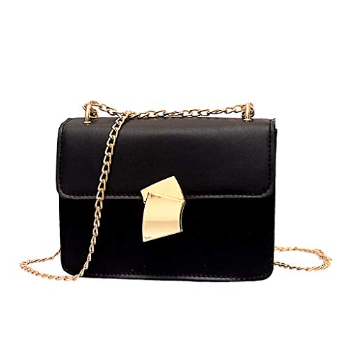 Women Fan Lock Messenger Bag Shoulder Bag Small Square Bag Purse Wallet (Black) ()