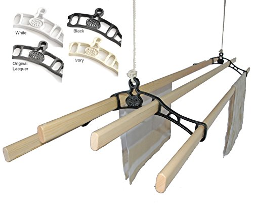 Premium British Cast Iron Ceiling Airer Victorian 4-Slat Bracket Black No Slats - Pulley Clothes Dryer