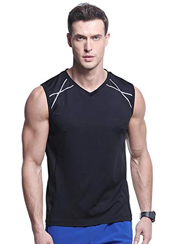 Truity Men Athletic Base Layer Sport Tank Top (Black, Large) ()