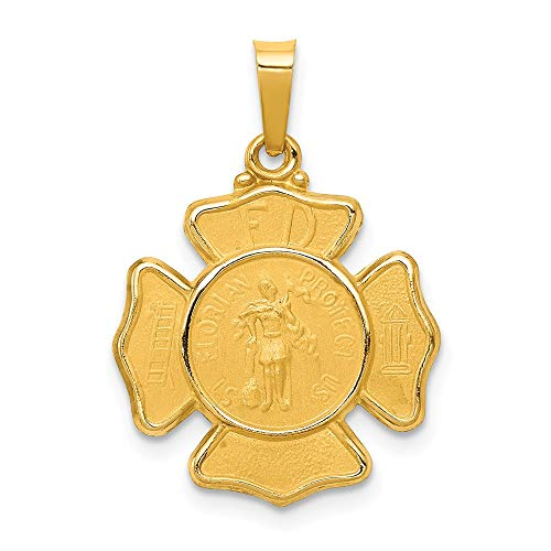 14k Yellow Gold Saint Florian Badge Medal Pendant Charm Necklace Religious Patron St Fine Jewelry Gifts For Women For Her (Saint Gold Medal Florian)