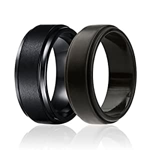 SOLEED Twins - Set of 2-1 Tungsten Wedding Band and 1