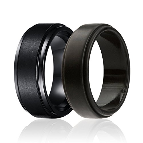 SOLEED Twins - Set of 2-1 Black Tungsten Wedding Band, Brushed Top, Step Edge and 1 Black Silicone Rubber Wedding Ring For Men, 8mm, Size 11 by SOLEED
