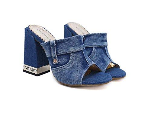 Onfly Zapatillas Cool Mules Mujeres Bomba 11cm Talón Chunkly Simple Peep Toe Denim Color puro remaches Zapatos de vestir OL Casual Court Shoes Eu Tamaño 34-40 Azul
