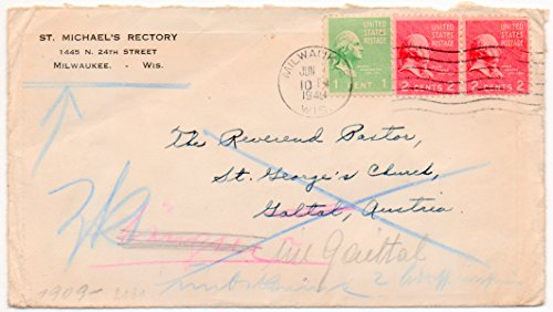 (US Postal Cover 1940 With One 1 Cent And 2 Two Cent US Postage Stamps Scott #804 & #806 WWII German Cancel Marks on Back)