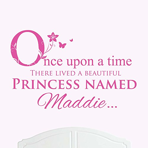 A Beautiful Princess Named Maddie Large Once Upon a Time Wall Sticker / Decal Bed Room Art Girl / (Maddie Kids Bed)