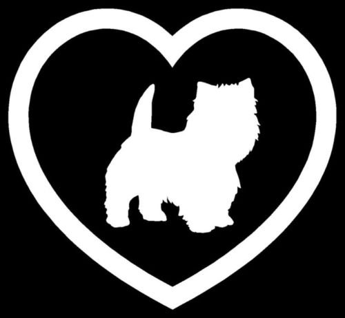 Westie Heart Sticker Terrier Dog Puppy Car Vinyl Decal - Die cut vinyl decal for windows, cars, trucks, tool boxes, laptops, MacBook - virtually any hard, smooth surface