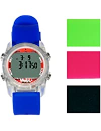 WobL + (4 colors available) Smallest Vibrating Waterproof Reminder Watch (Blue Band / Transparent Case)
