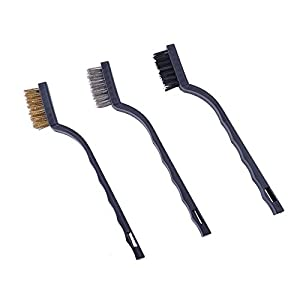 9 Pieces Mini Wire Brush Set 3 Nylon Wire Brush 3 Brass Wire Brush 3 Stainless Steel Wire Brush