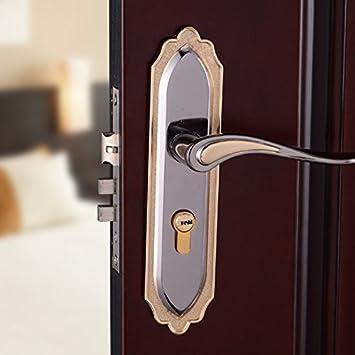 vanme Continental puerta cerradura para puerta de interior jardín dormitorio madera maciza negro oro titanio puerta pomo Hardware cerraduras: Amazon.es: ...