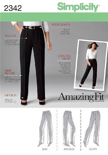 Simplicity Amazing Fit Pattern 2342 Misses Pleated Pants, Sizes 14-16-18-20-22 - Petite Pleats Trousers