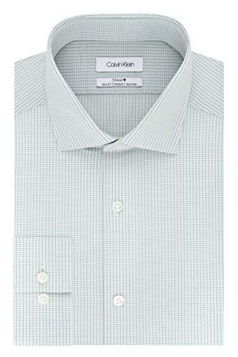 Calvin Klein Men's Dress Shirt Non Iron Stretch Slim Fit Check, Green Stone, 15.5