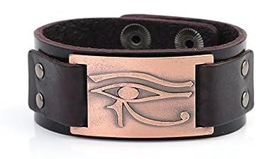 Bracelet en cuir My Shape motif œil d'Horus Râ Thot Oudjat amulette égyptienne païenne Qiju B074V5BWRT_US