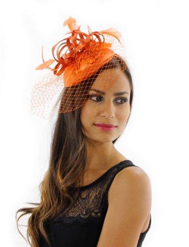 Lively Lady Fascinator Cocktail Hat Hat Colors: Orange