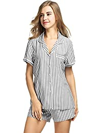 Ekouaer Pijama conjunto para mujer pijamas de manga corta de rayas con Pj Short S-XXL
