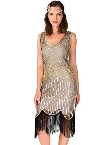 Women's Roaring 20s V-Neck Gatsby Dresses- Vintage Inpired Sequin beaded Flapper Dresses (L, dark - Aluminum Cast Chiminea Gatsby