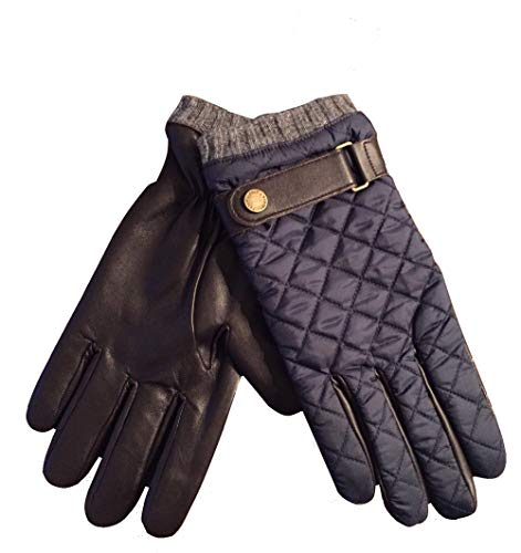 (POLO Ralph Lauren Men's Leather Driving Quilted Gloves Navy Brown M)