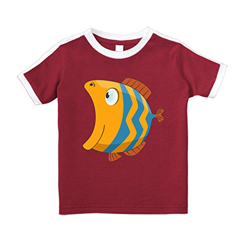 Cute Rascals Round Fish Open Mouth Animals Cotton Short Sleeve Crewneck Unisex Toddler T-Shirt Soccer Tee - Red, 5/6T