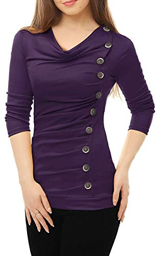 Sheer Cowl Neck - Yiershu Women Elegant T Shirt Sexy Cowl Neck Long Sleeve Ruched Blouse Casual Tops Tee Business Tunic Slim Fit Buttons Decor Purple