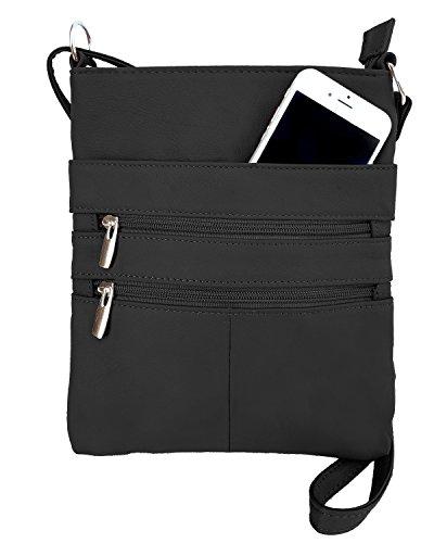 Roma Leathers Mini Body Purse - Five Compartments, Adjustable Strap - Black (RM011-BLK) ()