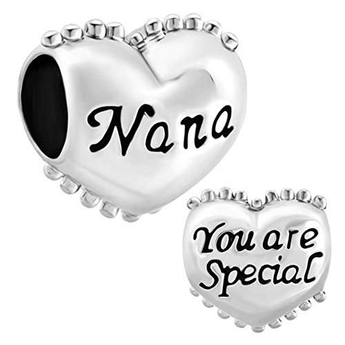 LovelyJewelry Heart Love Nana Silver Plated Charm Beads For Bracelet