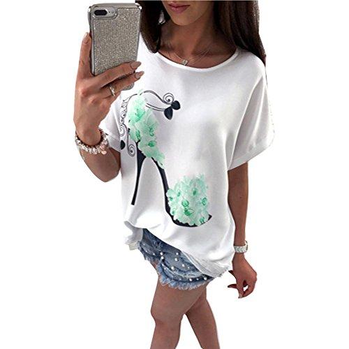 1ab669c78a40 juqilu Fledermaus Ärmel Frauen High Heels Blumen Drucken Tops Shirt Loose  Fit Oberteil Locker Bluse Arbeit