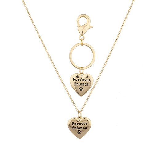 Lux Accessories Goldtone Forever Friends Dog Paw Necklace and Keychain Set 2PC