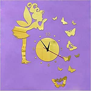 VV 3D DIY notebookbits ángel mariposas moderno reloj de pared espejo, GOLDEN