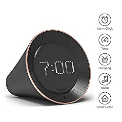 VOBOT Smart Alarm Clock with Amazon Alexa[Touch-Initiate], 5W Speaker, LED Display, White Noise Machine, Timer/Date/Weather/Daily