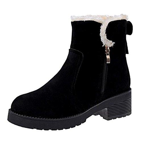 Binying Women's Round-Toe Block Heel Zip Fur Snow Boots Black ifaIf