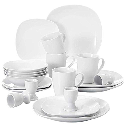 URBANFLIP 20-Piece Stoneware Porcelain Family Dinnerware with Dinner Soup Dessert Plates Coffee Mug Egg Cup Shot Glass Bowl Saucers Service in Ivory White Standard ELISA20WHT
