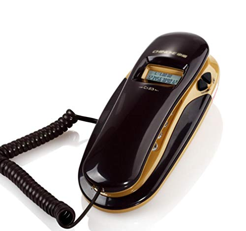 FU TEL Wired Telephone, Wall-Mounted/Desktop Caller ID for Home Office Hotel Landline (Color : Brown+Black) (Brown Telephone)