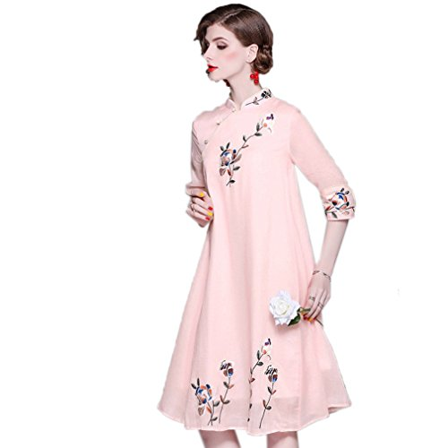 cotyledon Women`s Stand Collar Dresses Embroidery Loose Cheongsam Dress ()