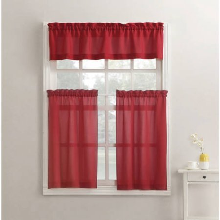 Mainstays Solid 3-Piece Tier and Valance Kitchen Curtain Set (54×36, Red)